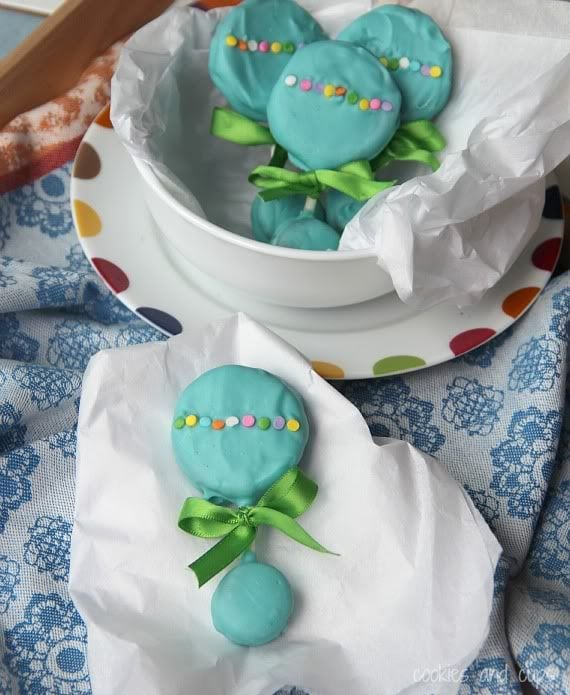 Teal baby rattle homemade lollipops