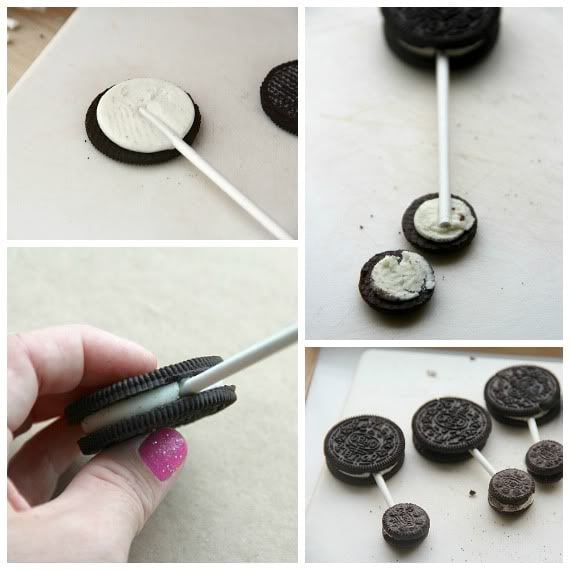 A collage of oreos and mini oreos on lollipop sticks to look like a baby rattle