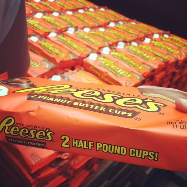 A package of Reese's half-pound peanut butter cups