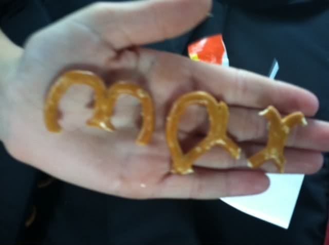 Pretzel pieces forming the word Max