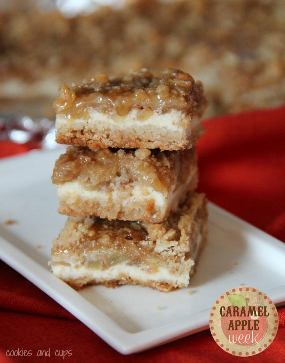 Cookies and Cups Caramel Apple Cheesecake Bars