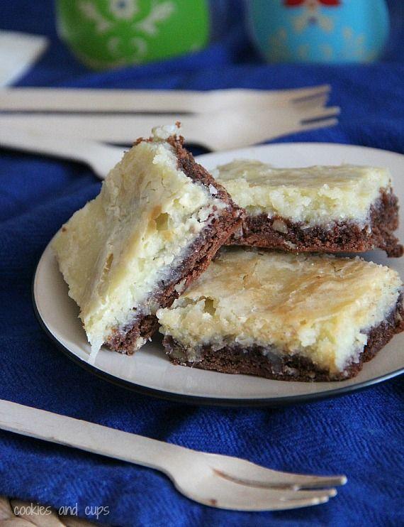 German chocolate cream cheese snack cake bars on a plate