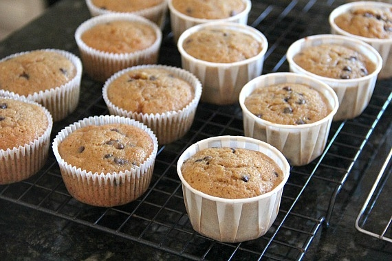 Banana chocolate chip cupcakes on a cooling rack
