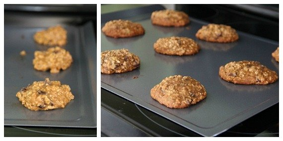 Collage of two photos of banana bread cookies on baking sheets