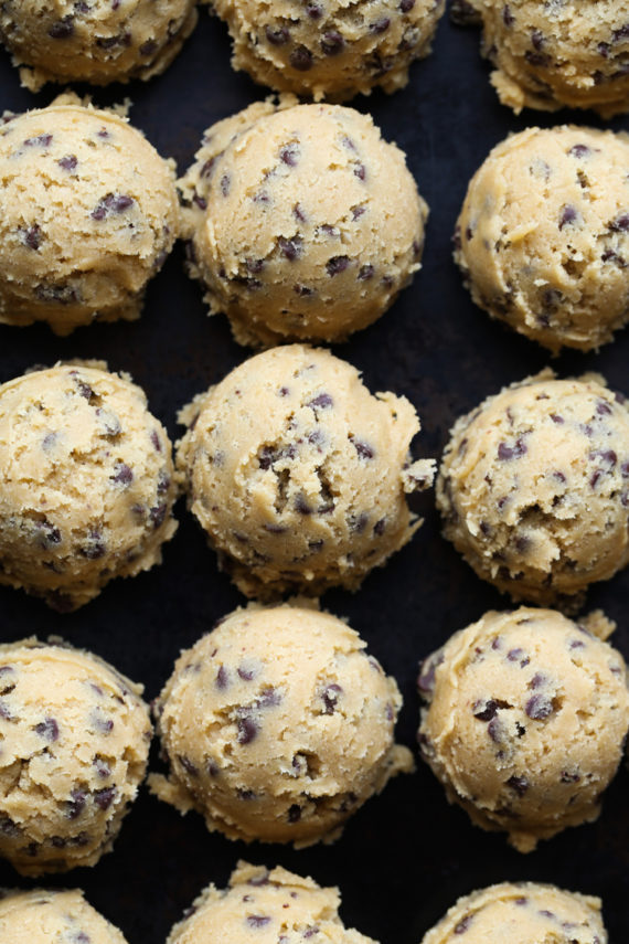 Scoop out chocolate chip cookie dough for perfect cookies