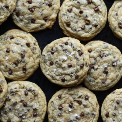 The best and my most favorite chocolate chip cookie recipe ever has mini chocolate chips and coarse sea salt!