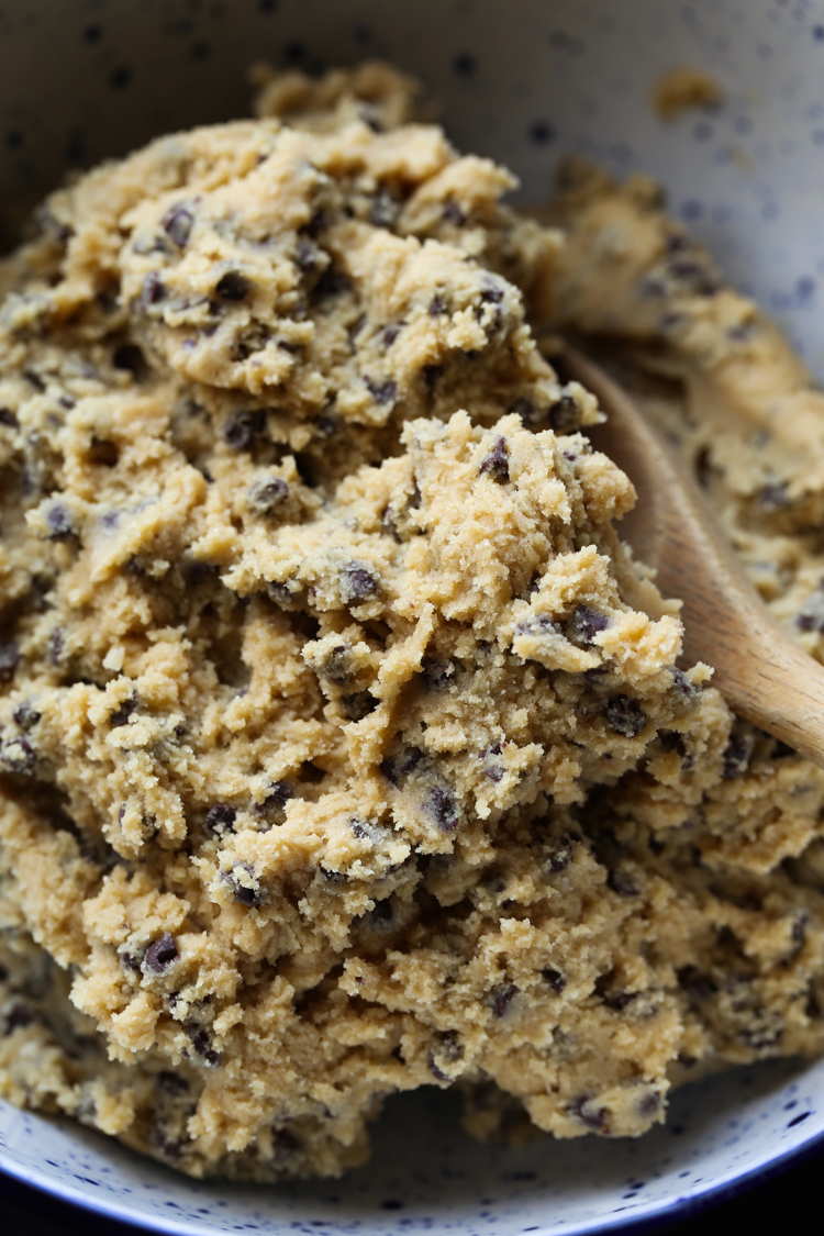 Cookie dough in a mixing bowl.
