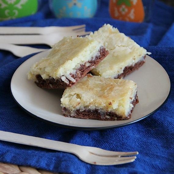 Image of German Chocolate Cream Cheese Cake Bars on a Plate