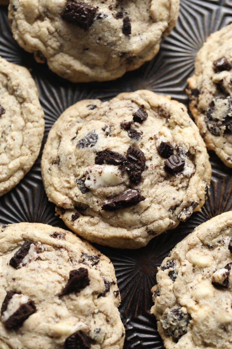 Oreo Pudding Cookies are a family favorite! They are crispy at the edge, but adding pudding mix directly into the batter keeps them soft and chewy in the center!