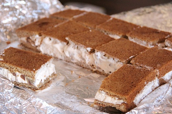 A batch of blondie ice cream sandwiches cut into squares