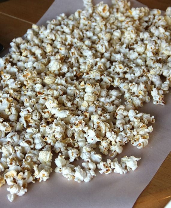 Kettle corn on a sheet of parchment paper