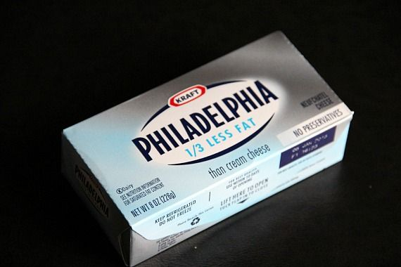 A package of Philadelphia 1/3 less fat cream cheese