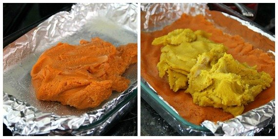 A collage of orange dough and orange with yellow dough being spread in a foil-lined pan