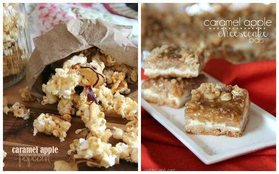 Collage of caramel apple popcorn and caramel apple cheesecake bars