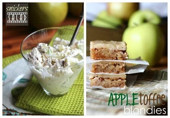 Collage of apple blondies and apple salad