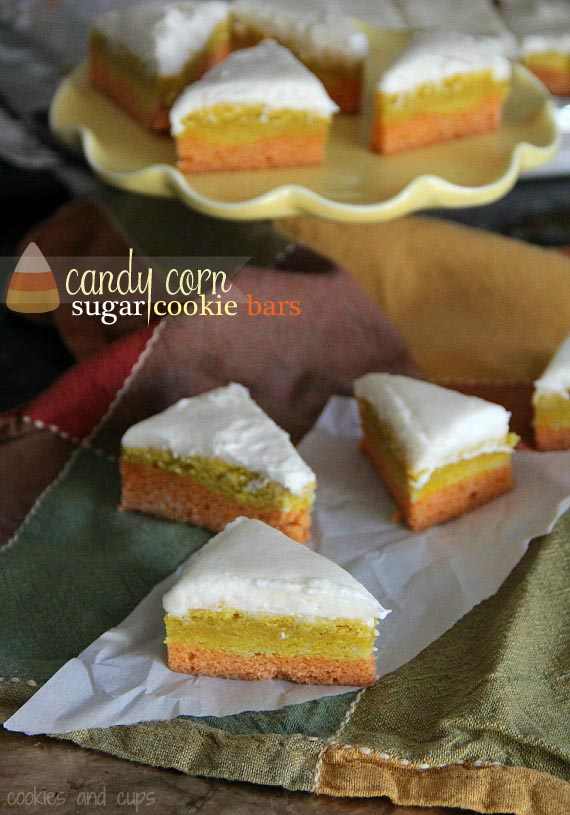 Candy Corn Sugar Cookie Bars | Easy Halloween Cookie Recipe!