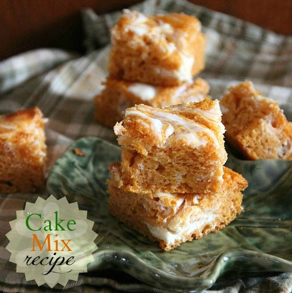 Cookies and Cups Lightened Up Pumpkin Cream Cheese Swirl Bars