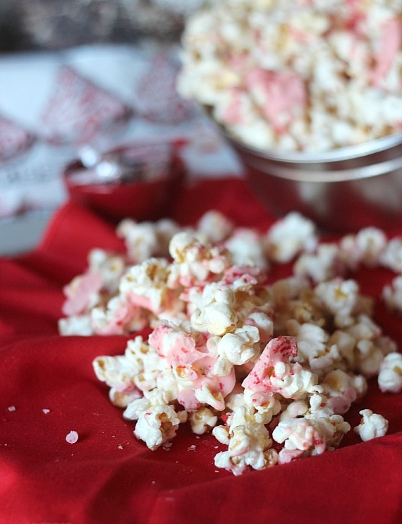 Candy cane kisses kettlecorn on a red cloth