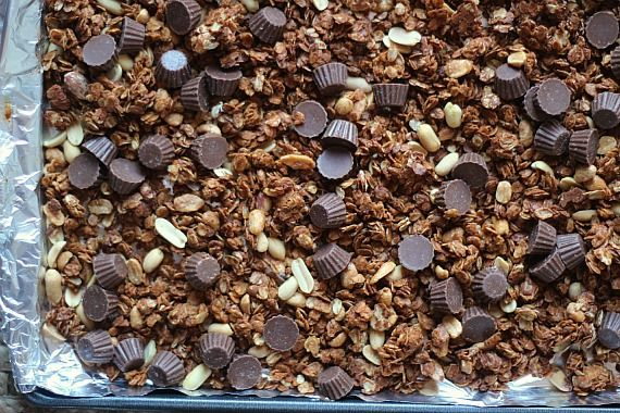 Peanut butter cup granola on a sheet pan