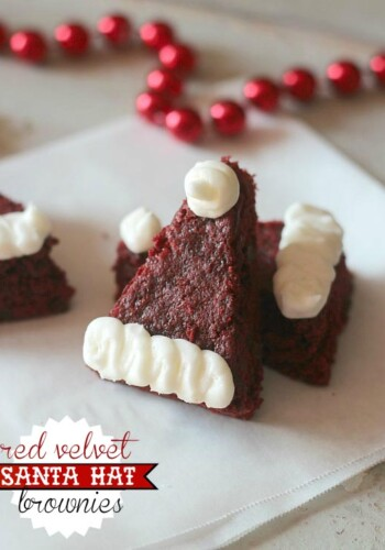 Image of Red Velvet Santa Hat Brownies