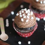 Close-up Image of Hot Chocolate Frosting on a Cupcake