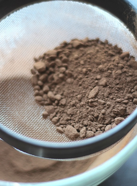 Cocoa powder in a sifter