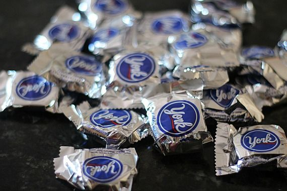 York peppermint patty candies in wrappers