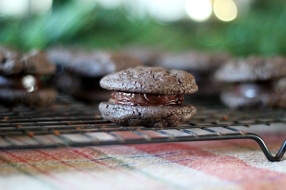Close-up view of a peppermint patty sandwich cookie