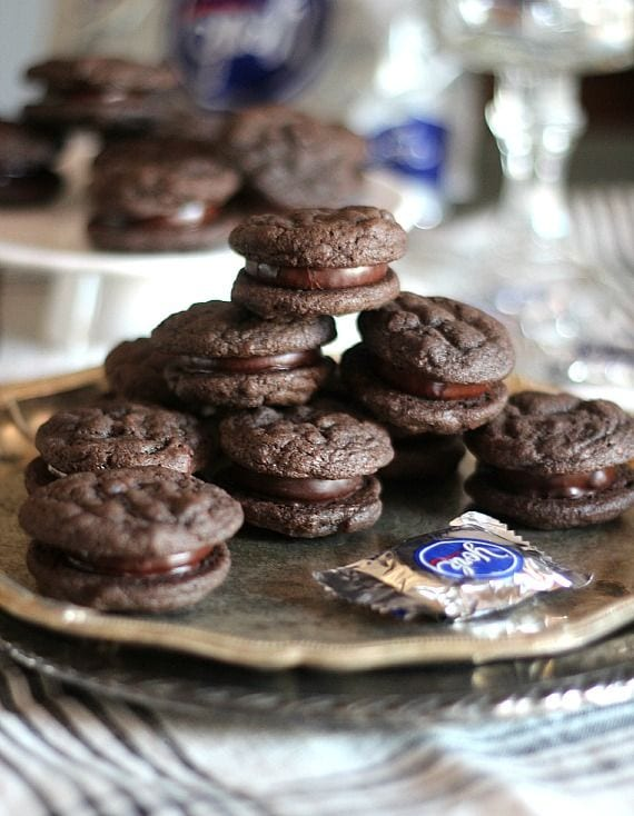 Chocolate peppermint patty sandwich cookies on a plate