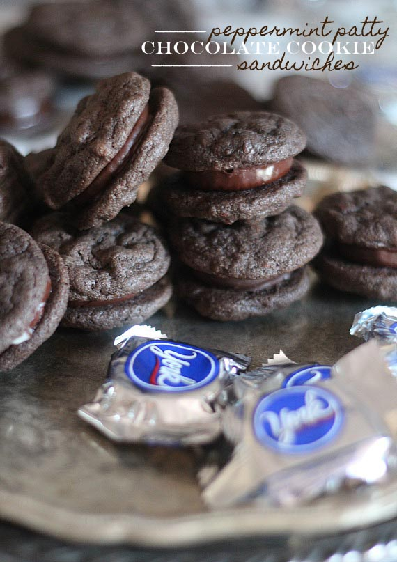 Plate of peppermint patty chocolate cookie sandwiches