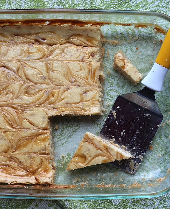 A pan of brown sugar toffee cheesecake bars