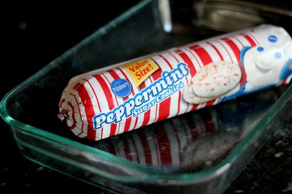 A tube-shaped package of Peppermint Sugar Cookie dough