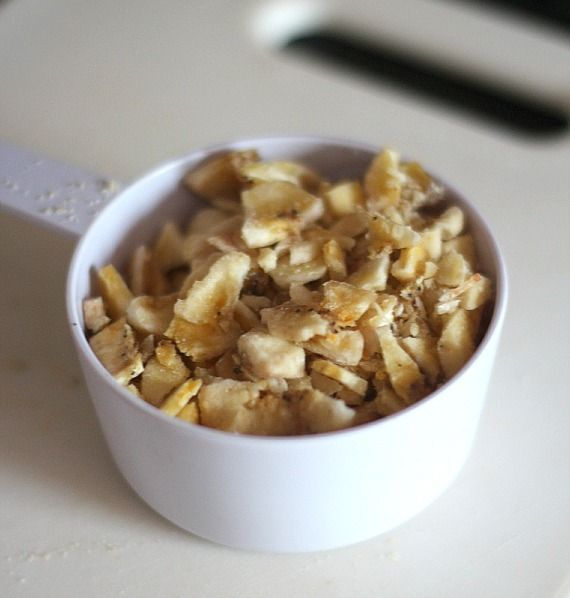 Chopped banana chips in a bowl