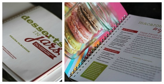 Collage of Desserts in Jars cookbook and a recipe for Macarons in a Jar