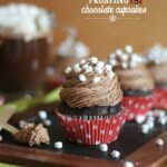 Image of chocolate cupcake with hot chocolate frosting and mini marshmallows