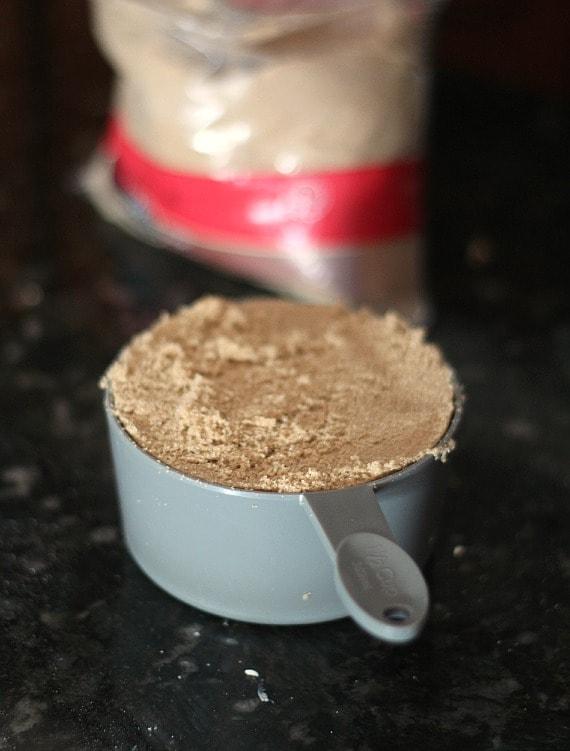 Brown sugar in a measuring cup