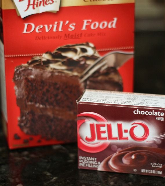 A box of Devil's Food cake mix and a box of Jello chocolate pudding mix