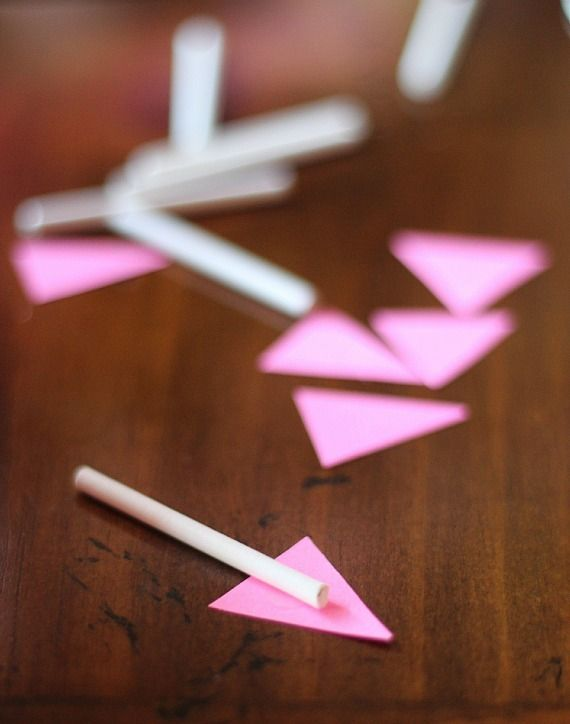 Lollipop sticks with pink triangles