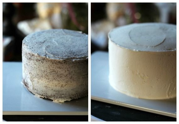A collage of two photos of a frosted layer cake
