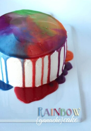Image of a rainbow ganache cake on a plate