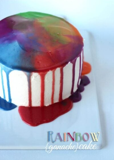 Image of a rainbow ganache cake on a plate