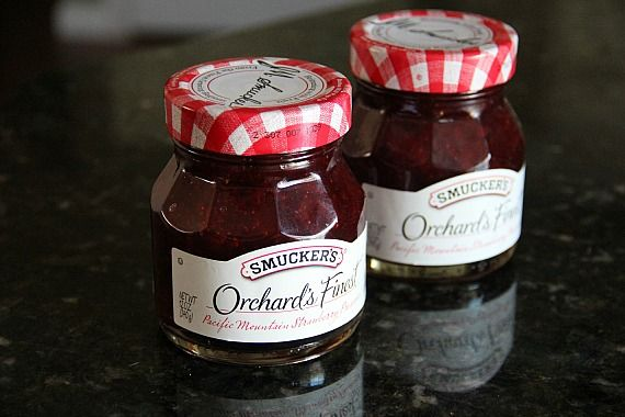 Two jars of Smucker's Orchard's Finest strawberry jam