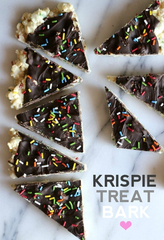 Krispie Treat Bark | Cookies and Cups