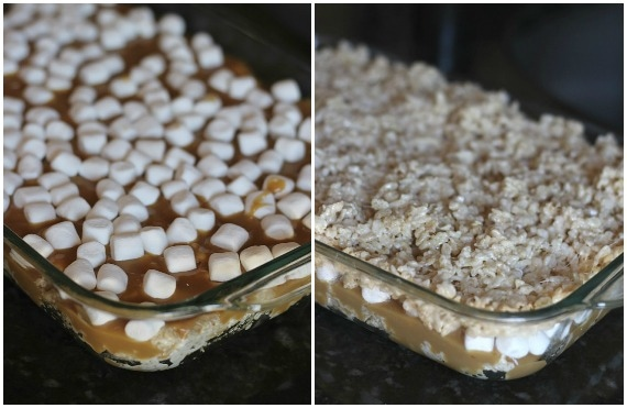A collage of two pans of caramel stuffed rice krispie treats with one topped with mini marshmallows and one topped with rice krispies