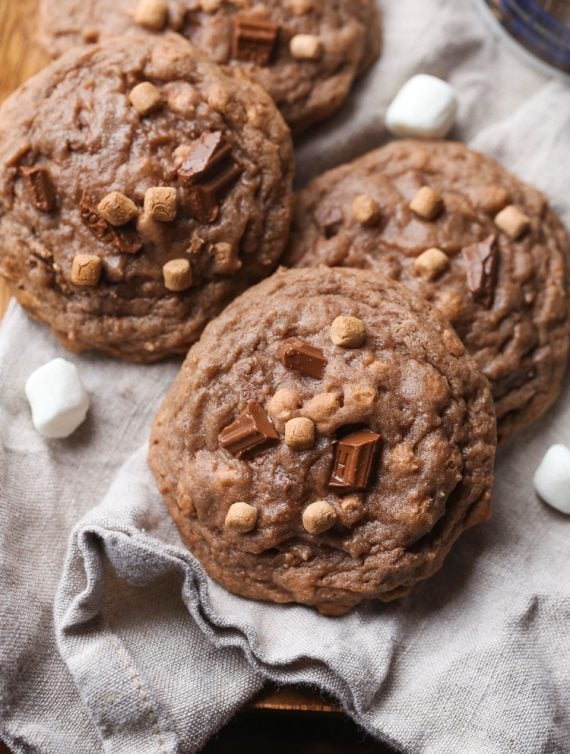 Hot Chocolate Cookies with milk chocolate and marshmallows