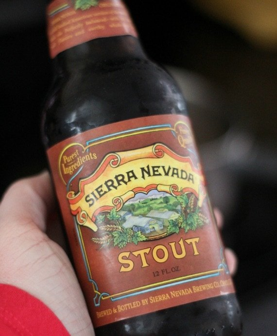 Close-up view of a bottle of Sierra Nevada Stout beer