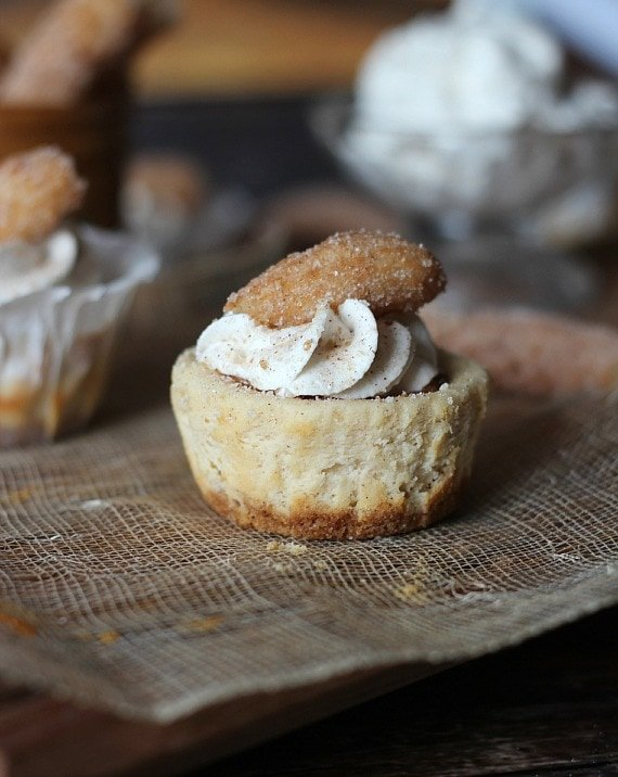Mini Churro Cheesecakes | Cookies and Cups
