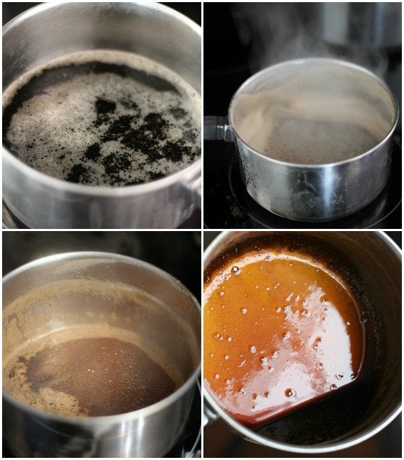 A collage of 4 photos of a stout beer reducing in a saucepan