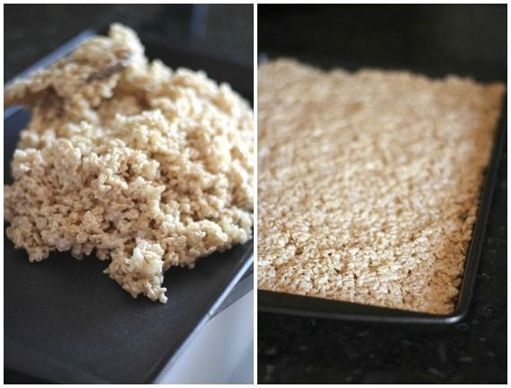 A collage of two photos of rice krispie treat batter in a pile and spread into a jelly roll pan