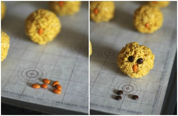 A collage of two photos of rice krispie chicks
